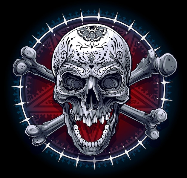 Crâne humain graphique avec étoile pentagramme
