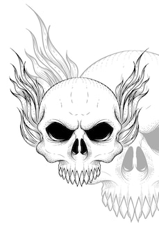 Crâne humain avec illustration vectorielle de cheveux