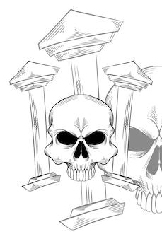 Crâne humain avec illustration vectorielle de construction