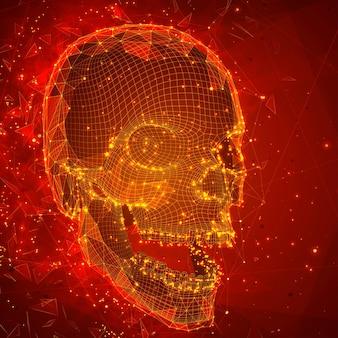 Crâne humain. notion de vecteur. triangulateur, volumétrique 3d. destruction et explosion