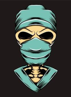 Le crâne humain utilisant le costume et le masque de chirurgie