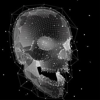 Le crâne humain vectoriel 3d de tous les segments explose. art lumineux.