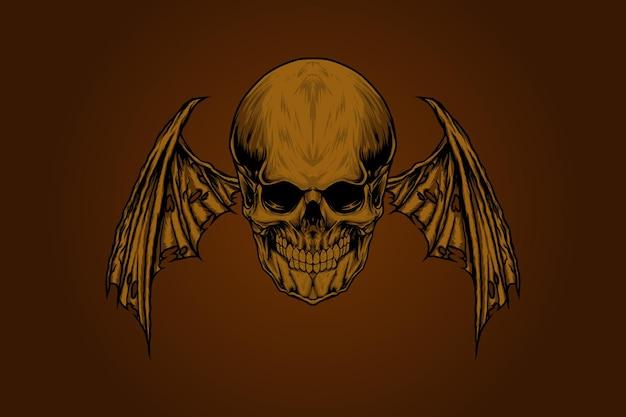 Crâne avec illustration d'ailes de diable