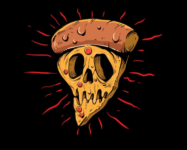Crâne d'illustration colorée pizza