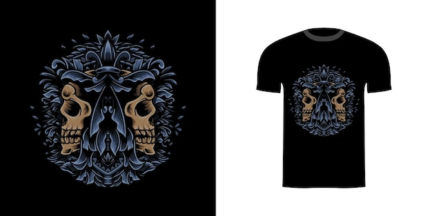 Crâne d'illustration de conception de tshirt avec l'ornement de gravure
