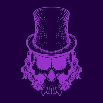Crâne avec illustration couleur néon chapeau
