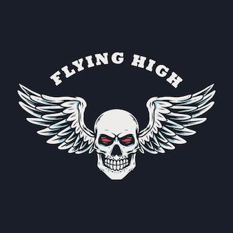 Crâne avec une illustration dessinée à la main des ailes