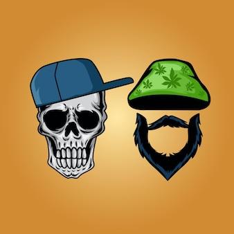 Crâne avec illustration de l'élément chapeau et barbe