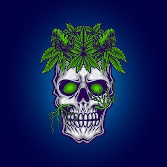 Crâne avec illustration de feuille de cannabis