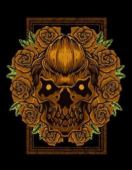 Crâne d'illustration avec fleur rose vintage