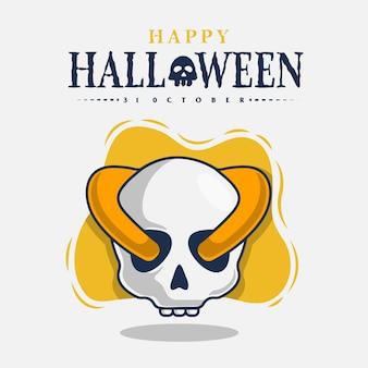 Crâne avec illustration d'icône de célébration d'halloween heureux