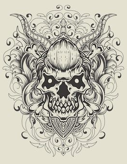 Crâne d'illustration avec ornement de gravure vintage