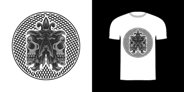 Crâne d'illustration pour la conception de tshirt