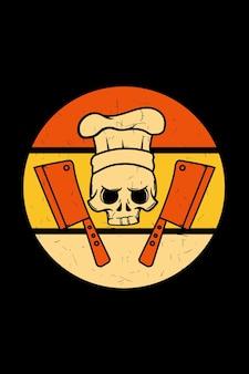 Crâne avec illustration rétro de chapeau de chef