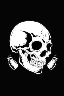 Crâne avec illustration vectorielle d'arme