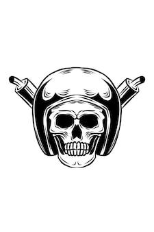 Crâne avec illustration vectorielle de casque