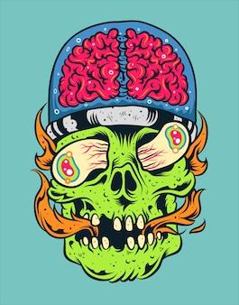 Crâne avec illustration vectorielle de cerveau