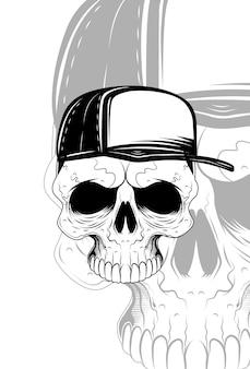 Crâne avec illustration vectorielle de chapeau