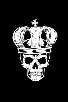 Crâne avec illustration vectorielle de couronne