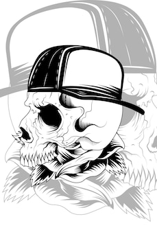 Crâne avec illustration vectorielle de fleur rose et chapeau