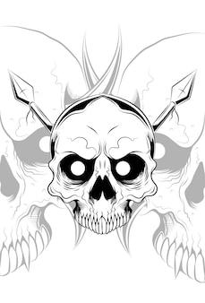 Crâne avec illustration vectorielle de lance