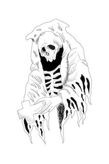 Crâne avec illustration vectorielle de manteau