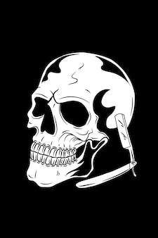 Crâne avec illustration vectorielle de rasoir
