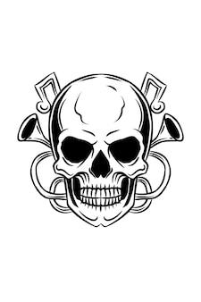 Crâne avec illustration vectorielle de trompette