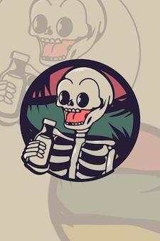 Crâne avec illustration vintage de bière