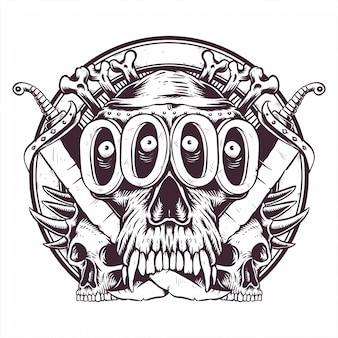 Crâne impair art en ligne décoration