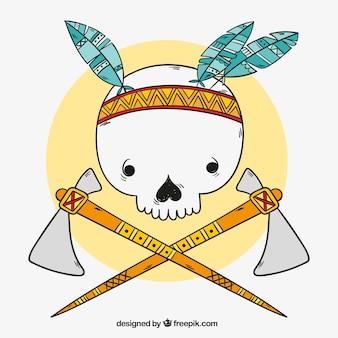 Crâne indien avec axes