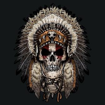 Crâne indien dessiné à la main