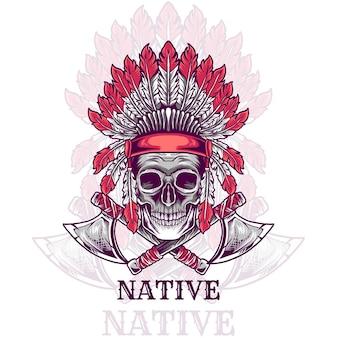 Crâne indien avec haches