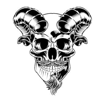 Crâne isolé avec moustache pour logo et élément de marque