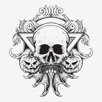 Crâne et jack o lanterne halloween avec la griffe d'aile de chauve-souris conception d'insigne art dessin à la main