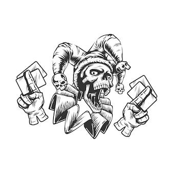 Crâne de joker avec des cartes à jouer, illustration noir et blanc isolé sur fond blanc.