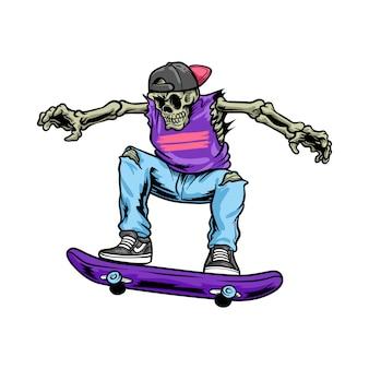 Crâne jouant au skateboard