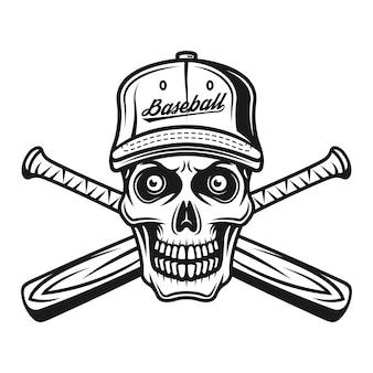 Crâne de joueur de baseball en casquette et deux chauves-souris croisées vector illustration monochrome isolé sur fond blanc