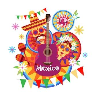 Crâne jour de morte concept traditionnel mexicain halloween dia de los muertos décoration de fête de vacances bannière invitation