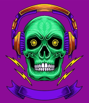 Crâne avec logo illustration casque