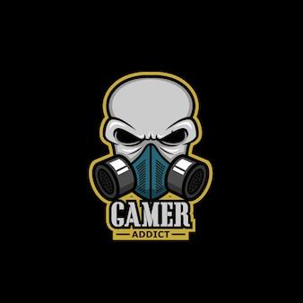 Crâne de logo de jeu avec masque