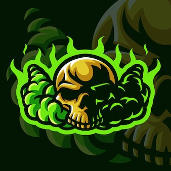 Crâne avec logo mascotte flamme verte pour les jeux twitch streamer gaming esports youtube facebook