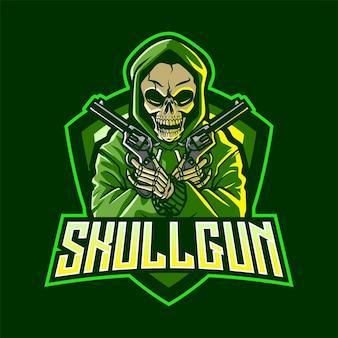 Crâne Avec Logo Mascotte Pistolet Vecteur Premium