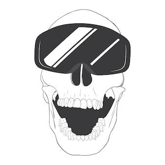 Crâne avec lunettes de ski