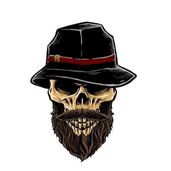 Crâne de mafia avec illustration de chapeau fedora