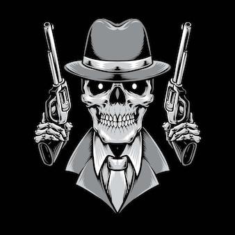 Crâne de mafia tenant un pistolet