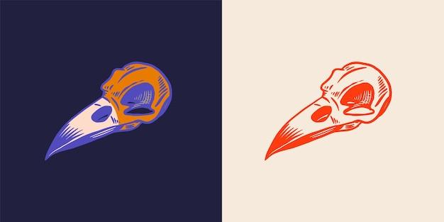 Crâne magique d'art de ligne de crâne d'oiseaux pour le croquis de vecteur dessiné à la main de sorcière
