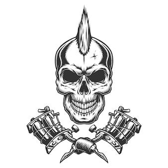 Crâne de maître de tatouage monochrome vintage