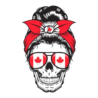 Crâne maman canadienne. bandeau design canada sur fond blanc. halloween. logos ou icônes de tête de crâne. illustration vectorielle.