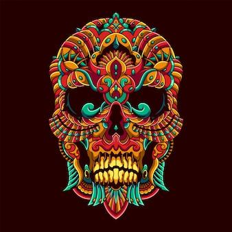Crâne mandala zentangle illustration et conception de tshirt